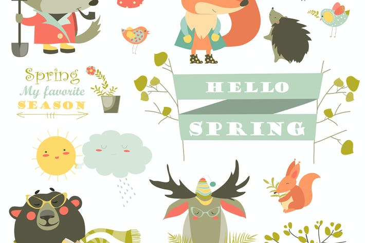 Thumbnail for Cartoon characters and spring elements