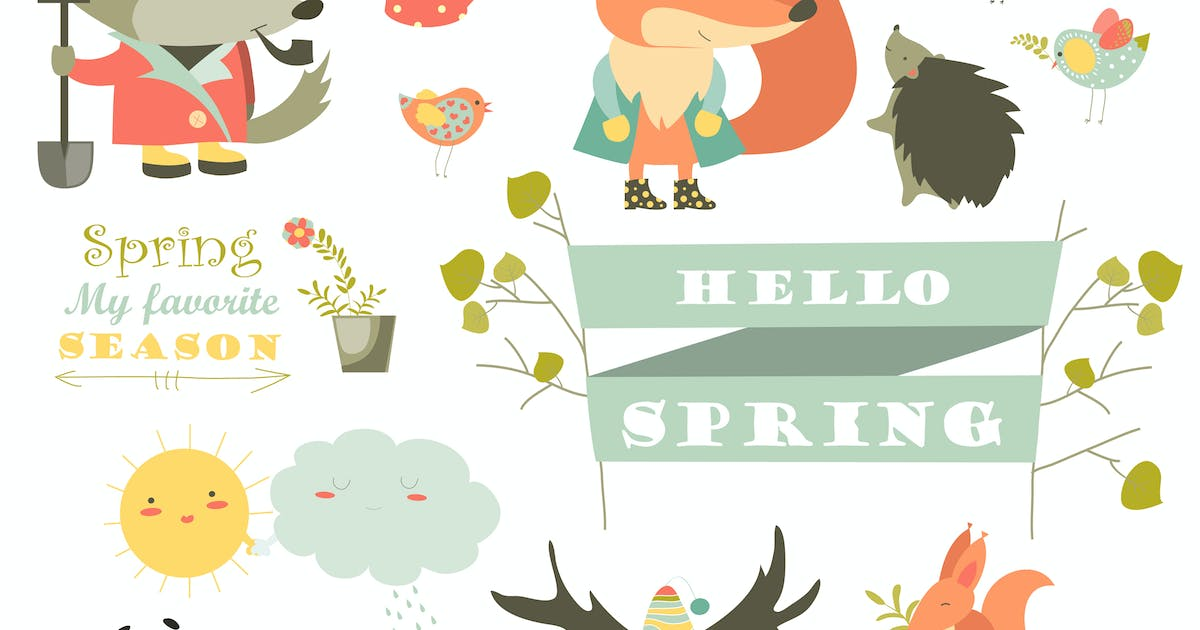 Download Cartoon characters and spring elements by masastarus
