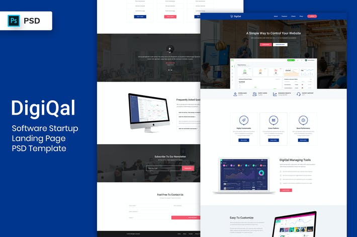 Thumbnail for Software Startup - Landing Page PSD Template