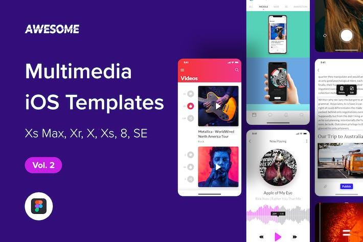 Thumbnail for Awesome iOS UI Kit - Multimedia Vol. 2 (Figma)