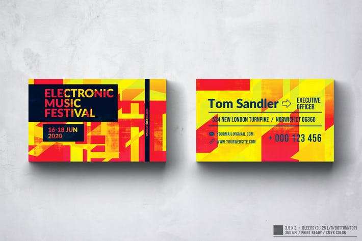 Thumbnail for Electronic Music Club Business Card Design