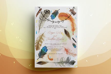 Feather Wedding Invitation Card