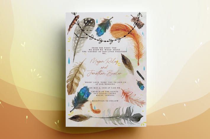 Thumbnail for Feather Wedding Invitation Card