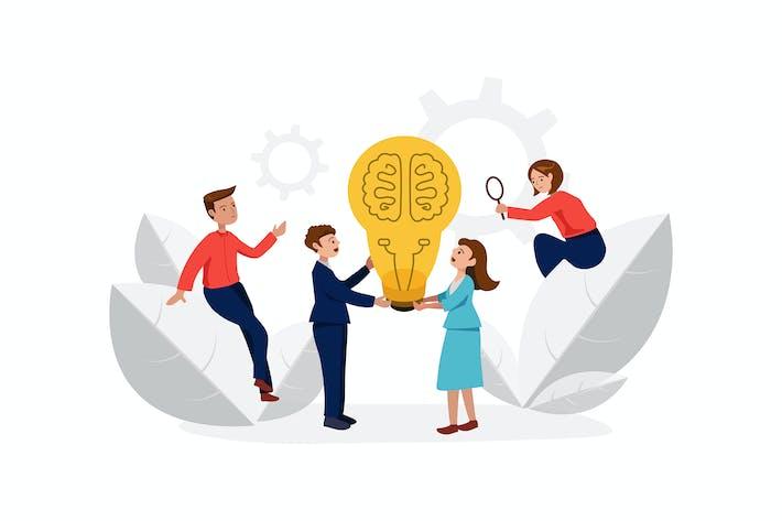 Brainstorming startup business team.