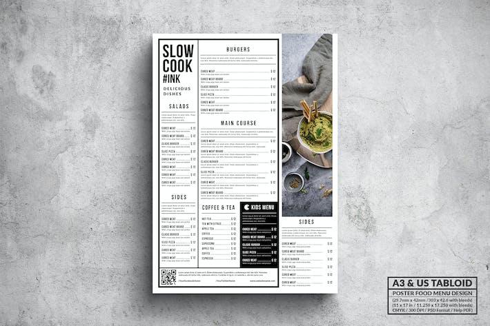 Thumbnail for Minimal Poster Food Menu - A3 & US Tabloid