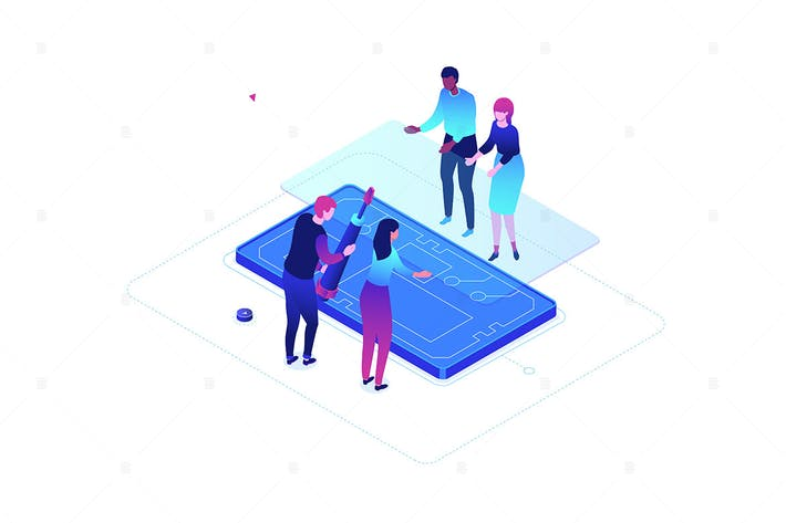 Mobile repair service - isometric illustration