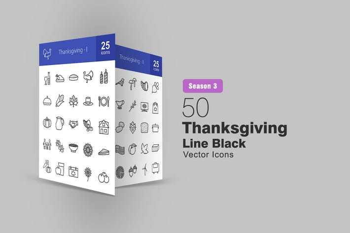 Thumbnail for 50 Thanksgiving Line Icons