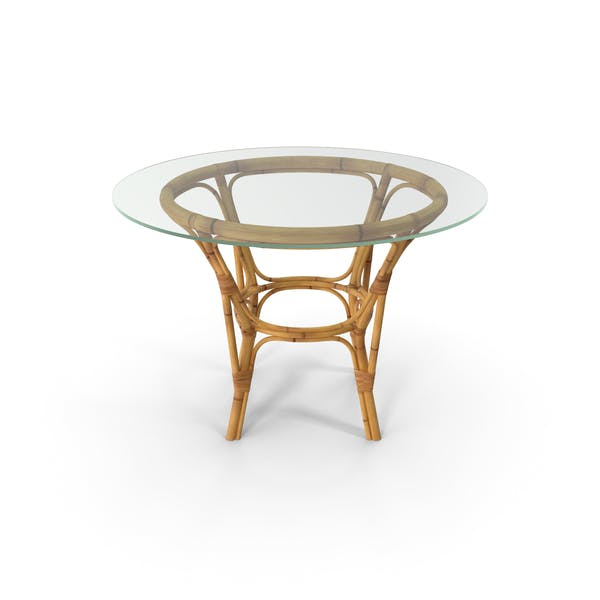 Bamboo Round Dining Table with Glass Top