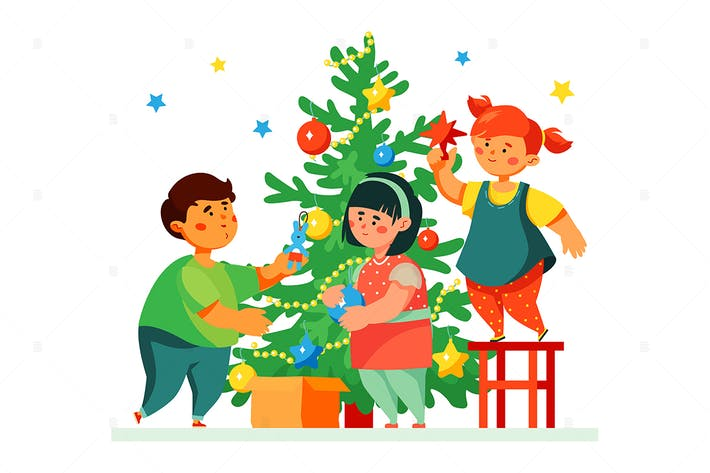 Thumbnail for Дети украшают елку - иллюстрация