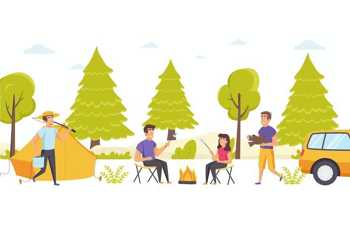 Menschen Camping mit Zelt Flache Szene Situation