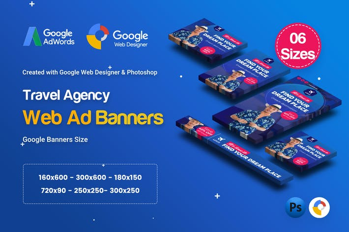 Thumbnail for C72 - Travel Agency Banners Ad GWD & PSD