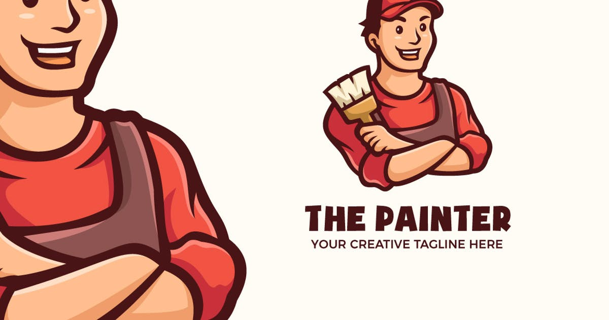 Download The Painter Man Cartoon Mascot Logo Template by MightyFire_STD