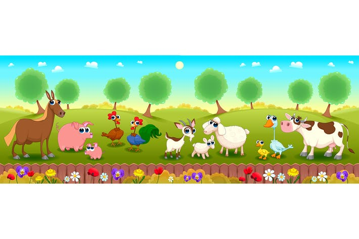 Thumbnail for Family Farm Animals in Nature
