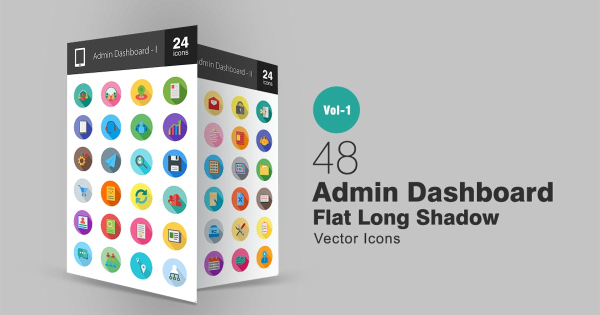 Download 48 Admin Dashboard Flat Long Shadow Icons by Unknow