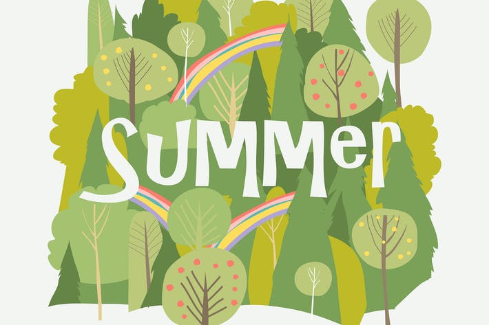 Thumbnail for Vector cartoon summer forest with rainbow on white