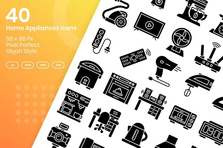 Thumbnail for 40 Home Appliances Icons Set - Glyph
