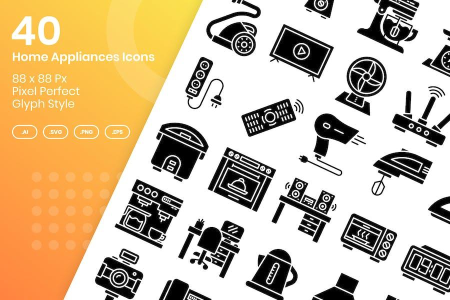 40 Home Appliances Icons Set - Glyph