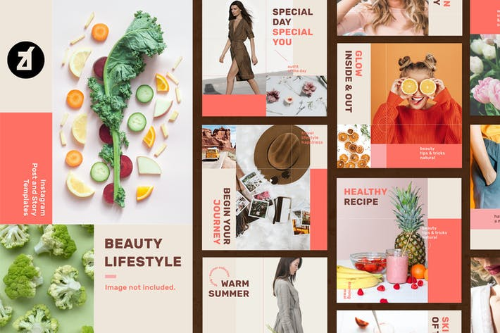 Thumbnail for Beauty lifestyle social media graphic templates