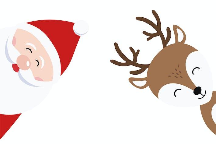 Thumbnail for Christmas Cute Santa Claus and Reindeer Vector