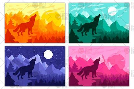 Wilder Wolf Heulen auf dem Hang