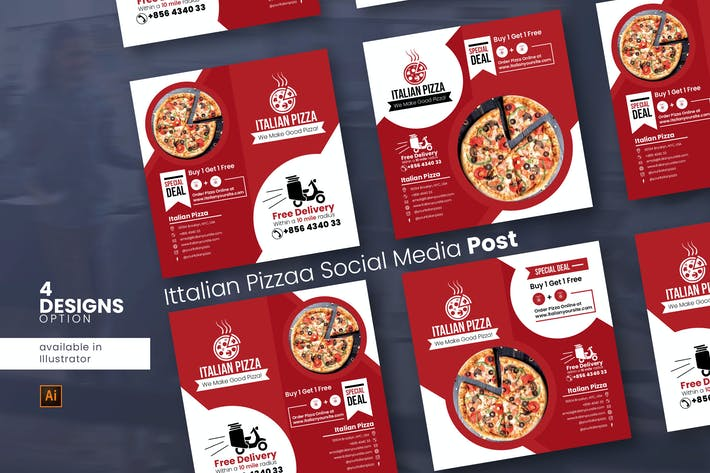 Thumbnail for Italian Pizza Social Media Post