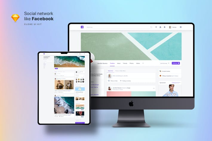 Thumbnail for Clone UI Kit - Social network like Facebook