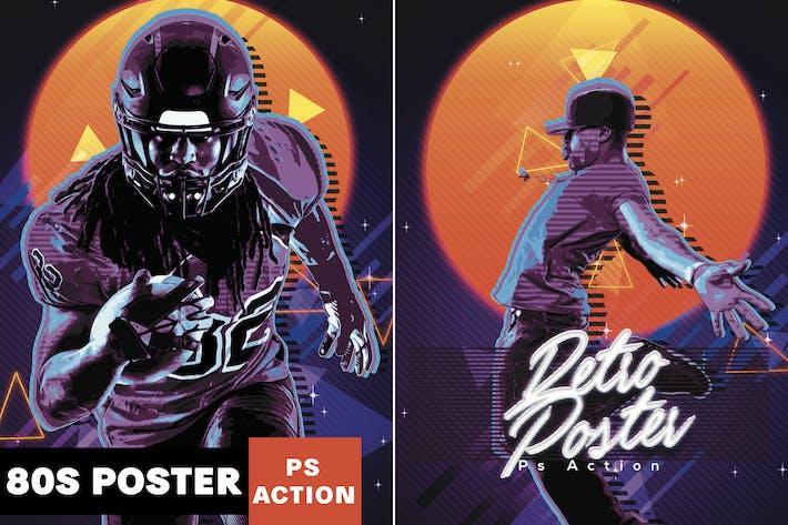 Cover Image For Affiche rétro des années 80 Photoshop Action