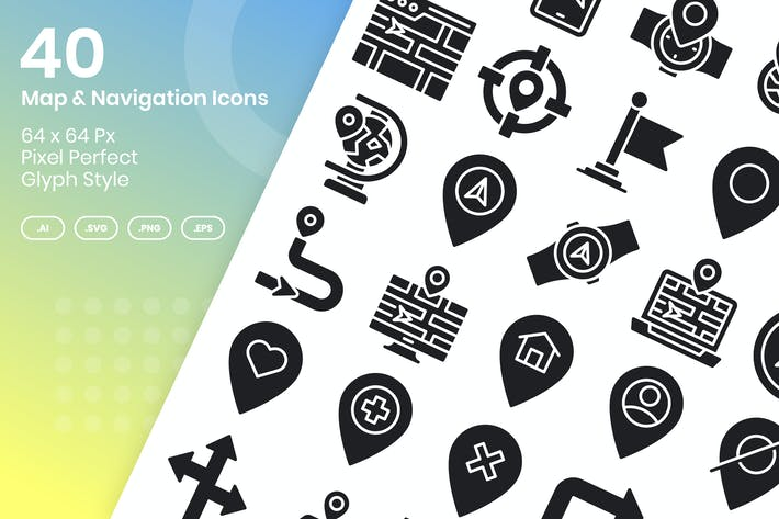Thumbnail for 40 Map & Navigation Icons Set - Glyph