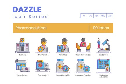 90 Pharmaceutical Line Icons