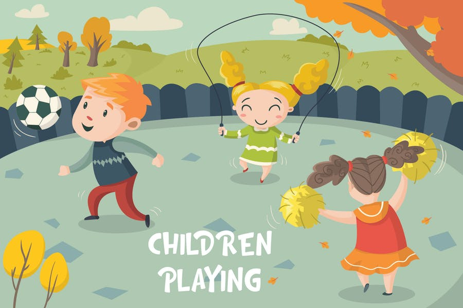Children Playing - Vector Illustration