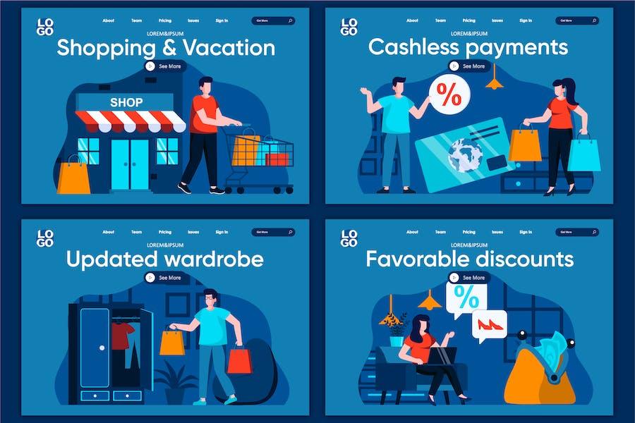 Modèle de page de destination Concept de vente au détail
