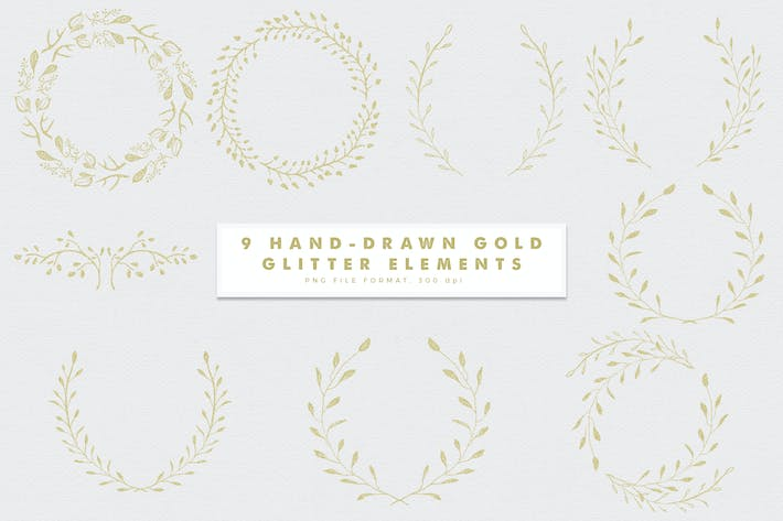 Cover Image For Gold-3 Glitter Hand Drawn Elements