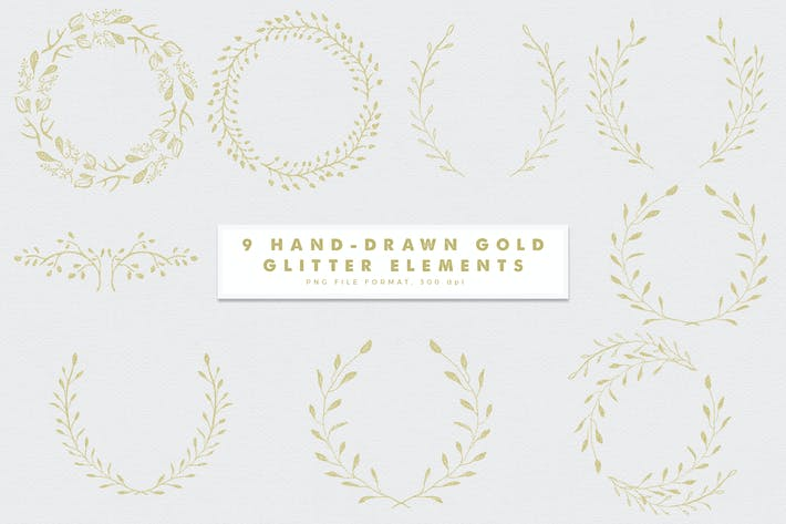 Thumbnail for Gold-3 Glitter Hand Drawn Elements
