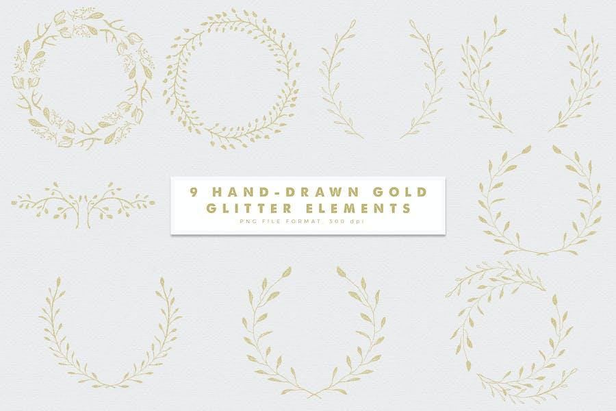 Gold-3 Glitter Hand Drawn Elements