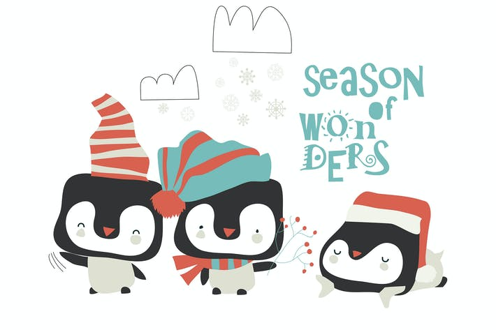 Thumbnail for Vector cute penguins celebrating Christmas on whit