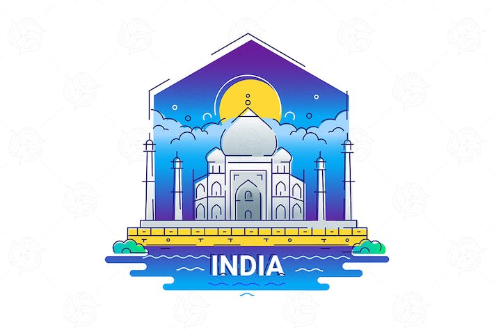 Thumbnail for India - modern vector line travel illustration