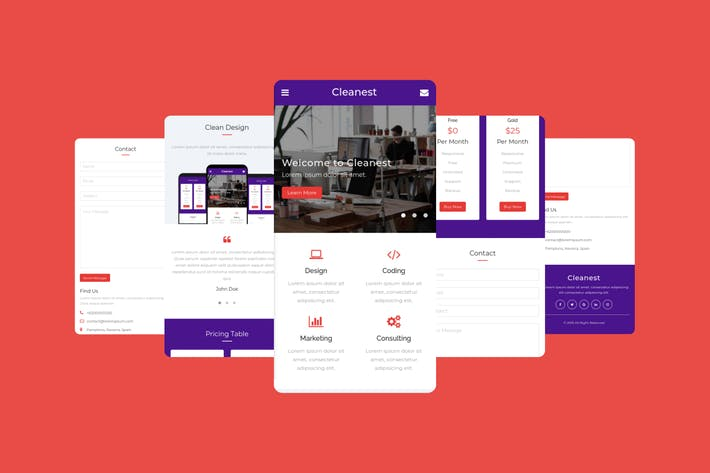 Thumbnail for Cleanest – Mobile Template