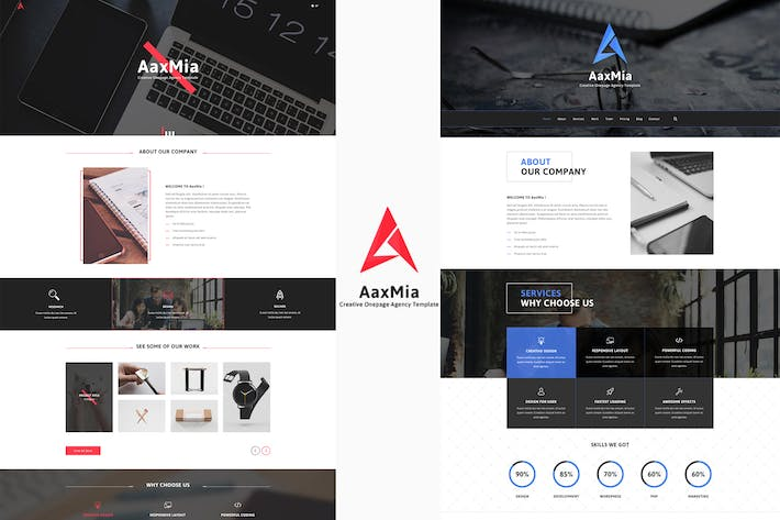 Thumbnail for AaxMia - One page Agency and Portfolio Template