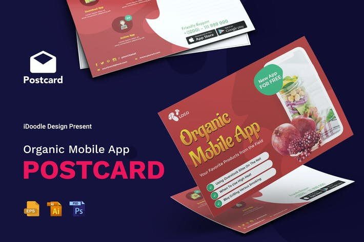 Thumbnail for Organic Mobile App Postcard