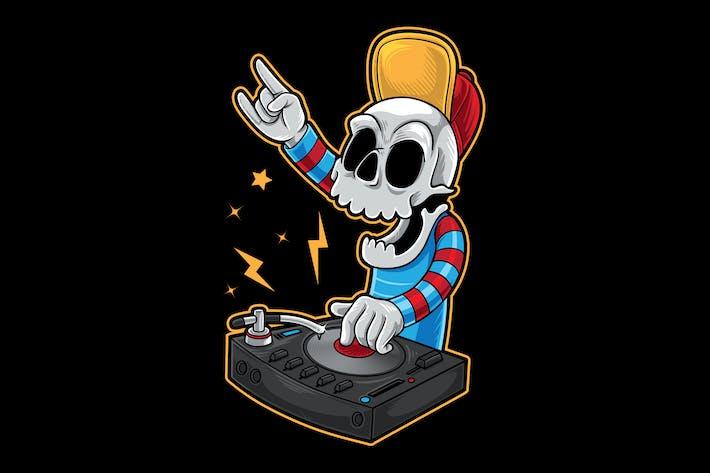 Calavera de dibujos animados DJ