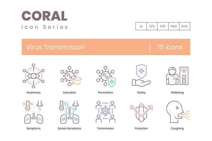 Thumbnail for 75 Virus Transmission Icons - Coral Series