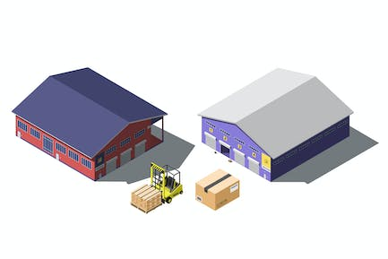 Warehouse building isometric set with forklift