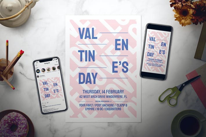 Thumbnail for Modern Valentine's Day Flyer Set
