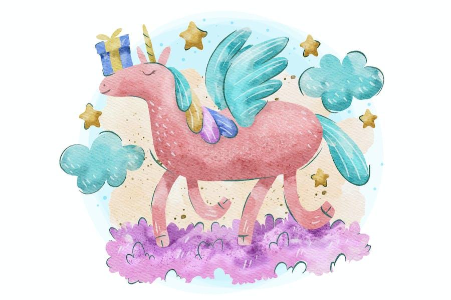 licorne mignonne illustration avec aquarelle