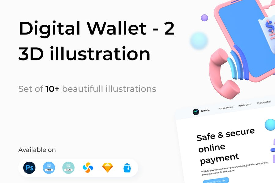 Digital Wallet 3D Illustrations Part 2