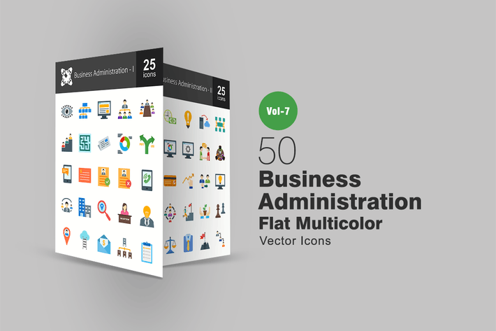 Cover Image For 50 Business Administration Flat Multicolor Icons