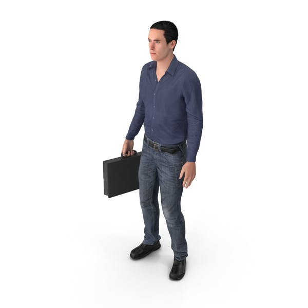 Casual Man James Holding Briefcase