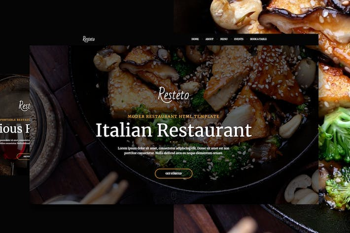 Thumbnail for Resteto - One-page Restaurant Premium Template