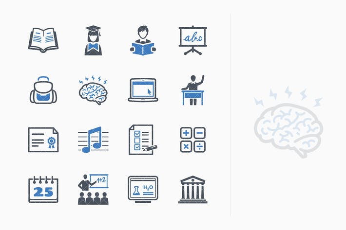 Thumbnail for Education Icons Set 2 - Blue Series