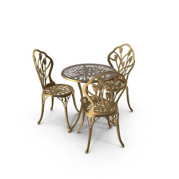 Thumbnail for Tisch- und Stuhl-Set aus goldenem Eisen